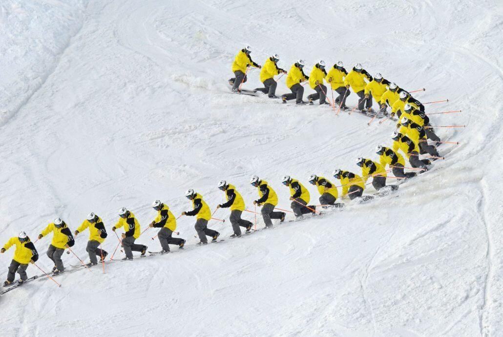 Telemark turn in Verbier