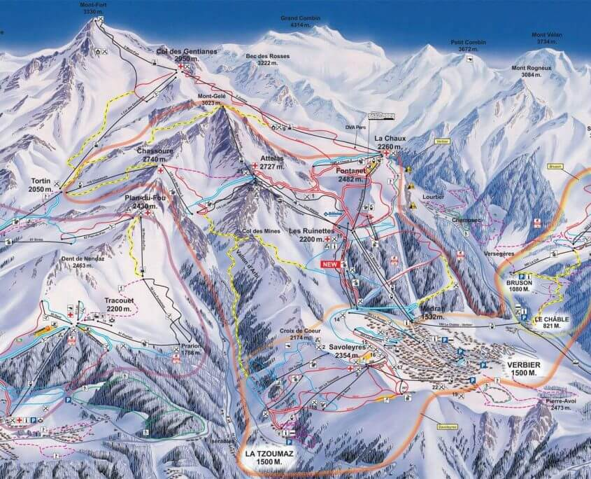 Lovely Map Of Verbier Skiing