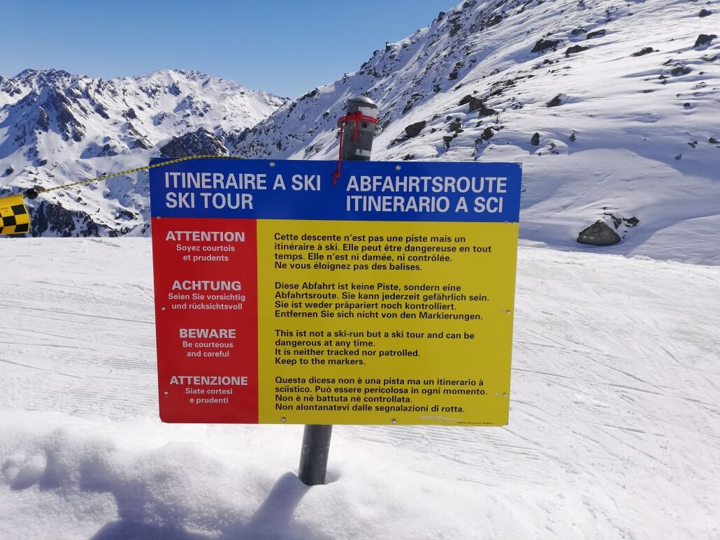 Skiers beware - this is the sign at the top of Tortin